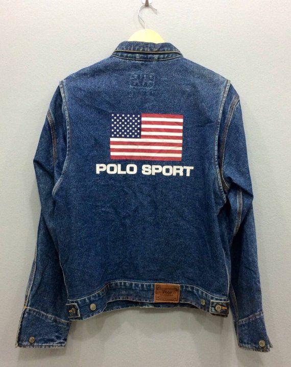68f10d80 Vintage Rare Polo Sport Ralph Lauren Denim Jacket Authentic Dungarees Flag  USA Big Logo Back hiphop/