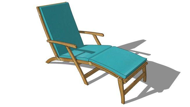 Visualização grande do modelo 3D de Matelas Chaise longue turquoise OLÉRON , maisons du monde, Réf. 130.924 Prix:49€