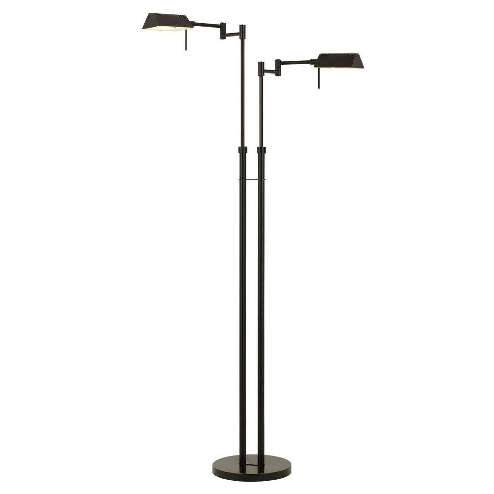 45 5 X 58 5 Adjustable Metal Clemson Dual Pharmacy Swing Arm Floor Lamp Includes Led Light Bulb Dark Bronze Cal Lighting Lamp Metal Floor Lamps Floor Lamp