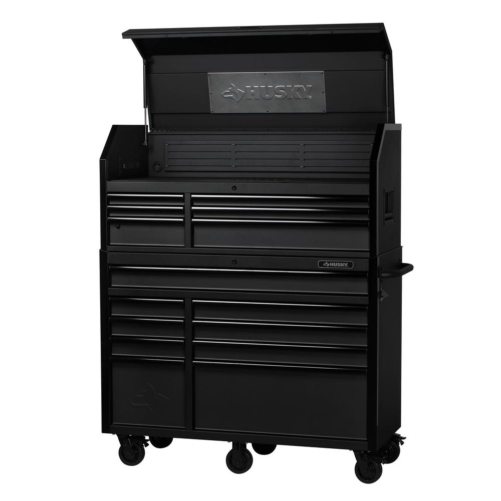 Husky Industrial 52 In W X 21 7 In D 15 Drawer Tool Chest And Cabinet Combo In Textured Black Tool Chest Tool Cabinets Chests Tool Box