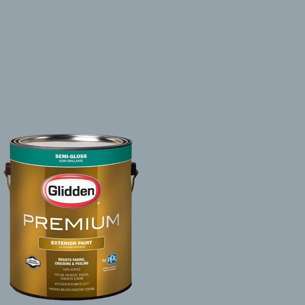 Glidden Premium 1-gal. #HDGB62D Blue Grey Shadow Semi-Gloss Latex Exterior Paint