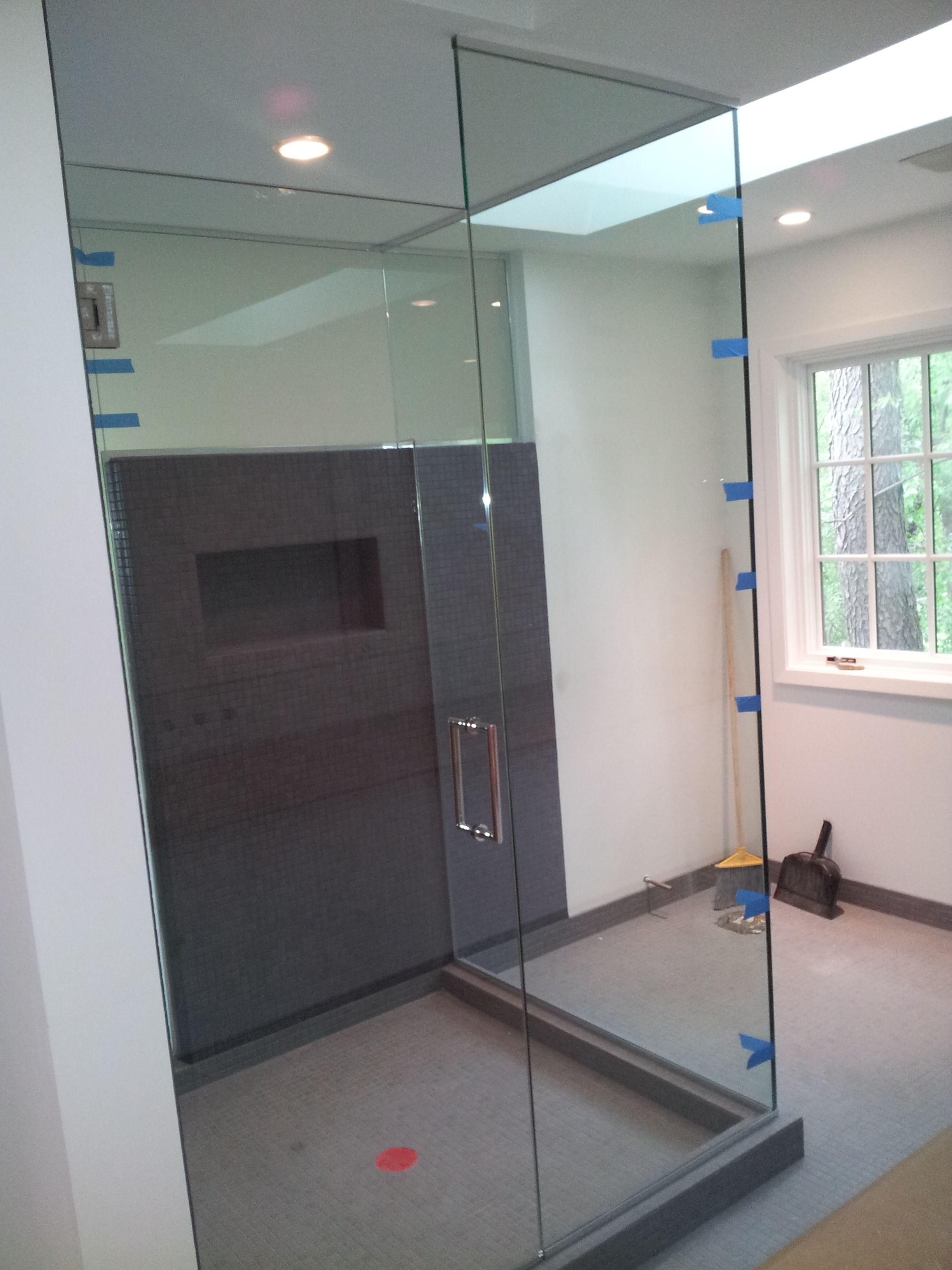 2 Sided Shower Enclosure, frameless, one side clear and one side ...