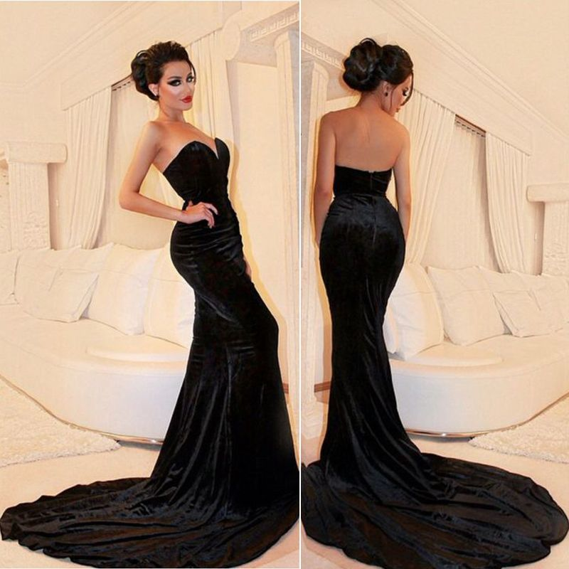 59bf13a604b2 Black Velvet Sweetheart Court Train Long Prom Dress Formal Occasion Event  Gown on Luulla