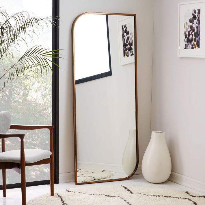 Metal Framed Floor Mirror Rose Gold west elm h o m e