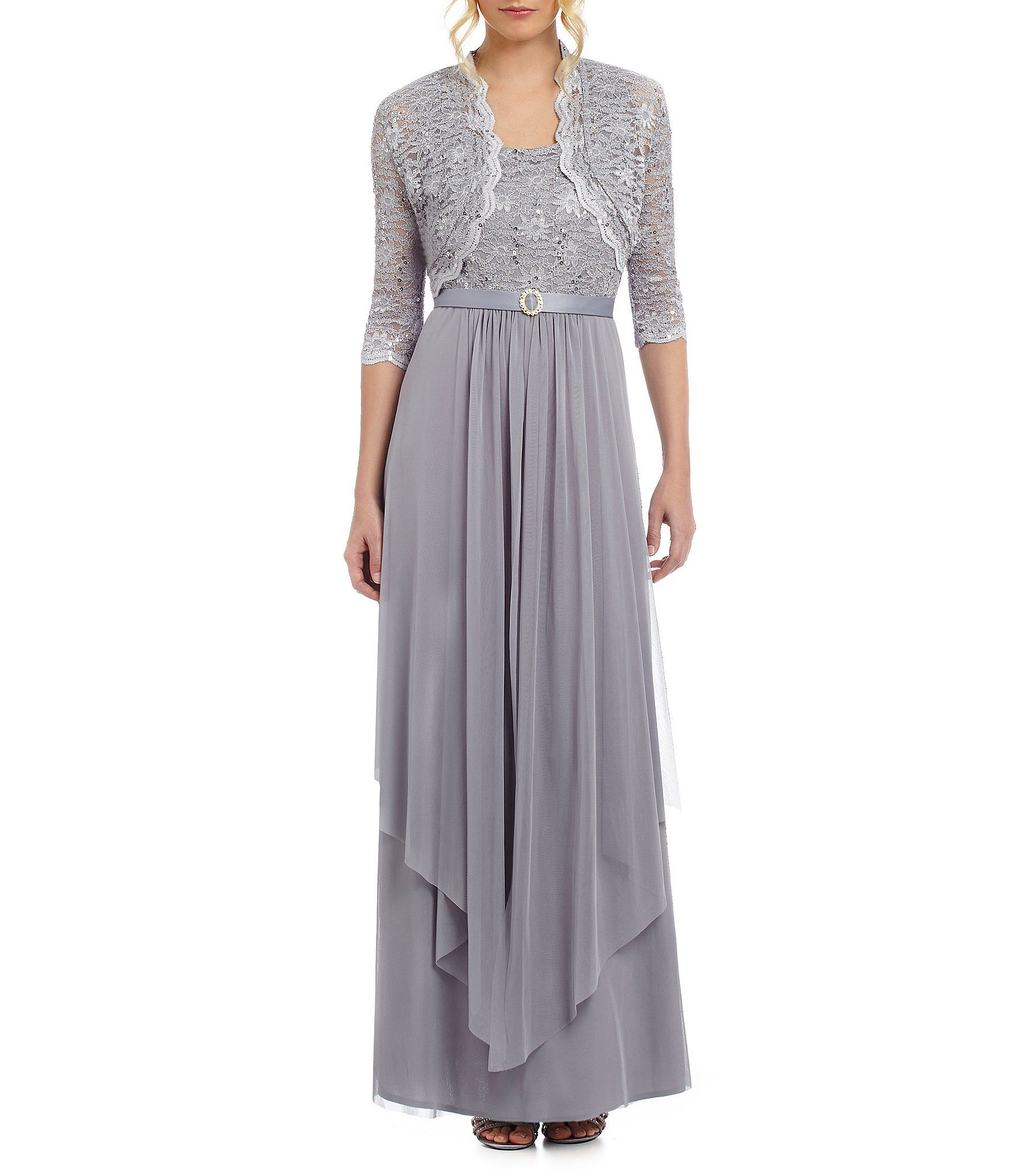 Shop for r u m richards sequined lace u chiffon jacket dress at