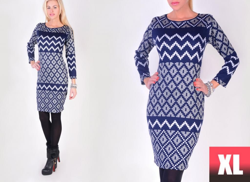 Modna Ciepla Hit Sukienka Aztecki Wzor P286 Xl42 5829173149 Oficjalne Archiwum Allegro Dresses With Sleeves Long Sleeve Dress Fashion