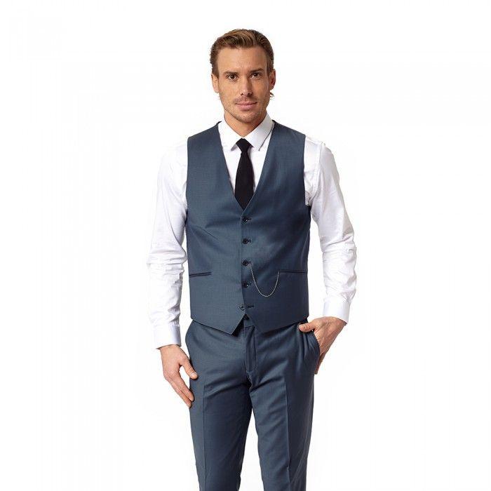 Costume Homme 3 Pièces Un Bouton Couleur Uni Veste +Pantalon +Gilet 9 Couleurs.