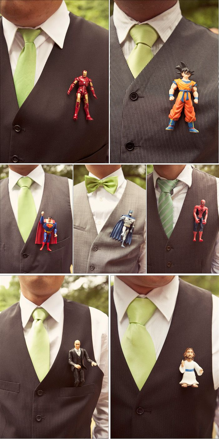 Superhero boutonnieres... someone I know needs to do this!