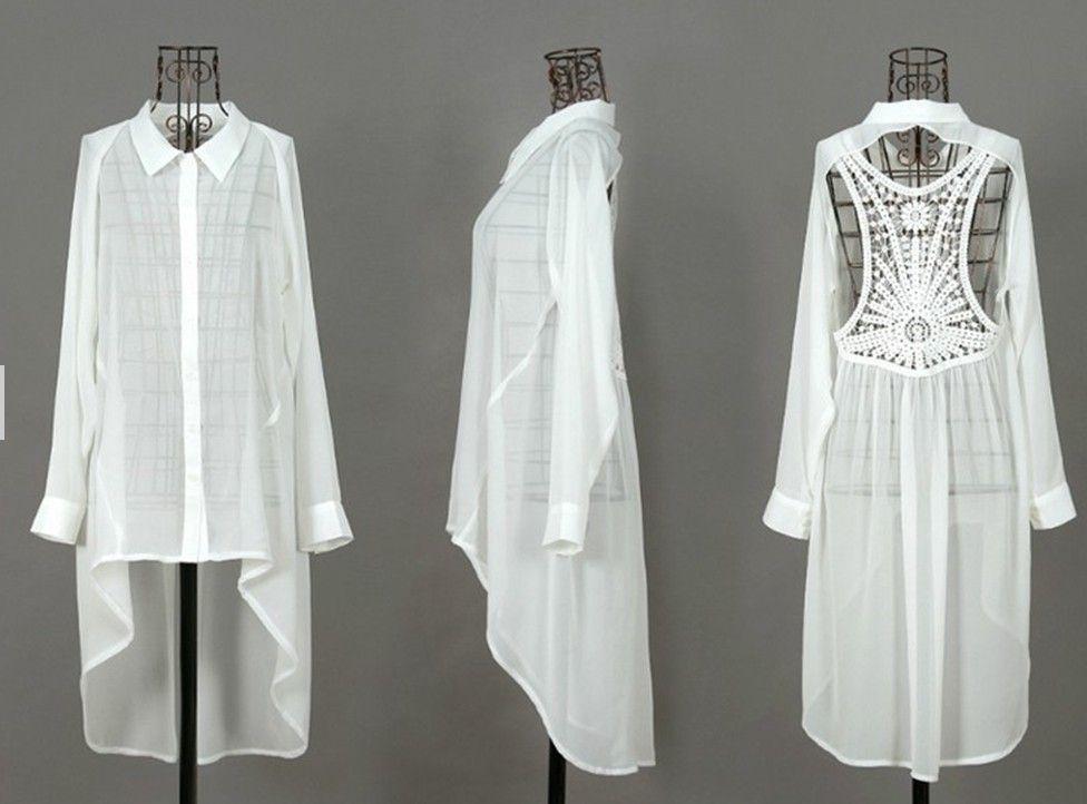 chemise kimono voile dos nu dentelle blanc robe tunique de. Black Bedroom Furniture Sets. Home Design Ideas