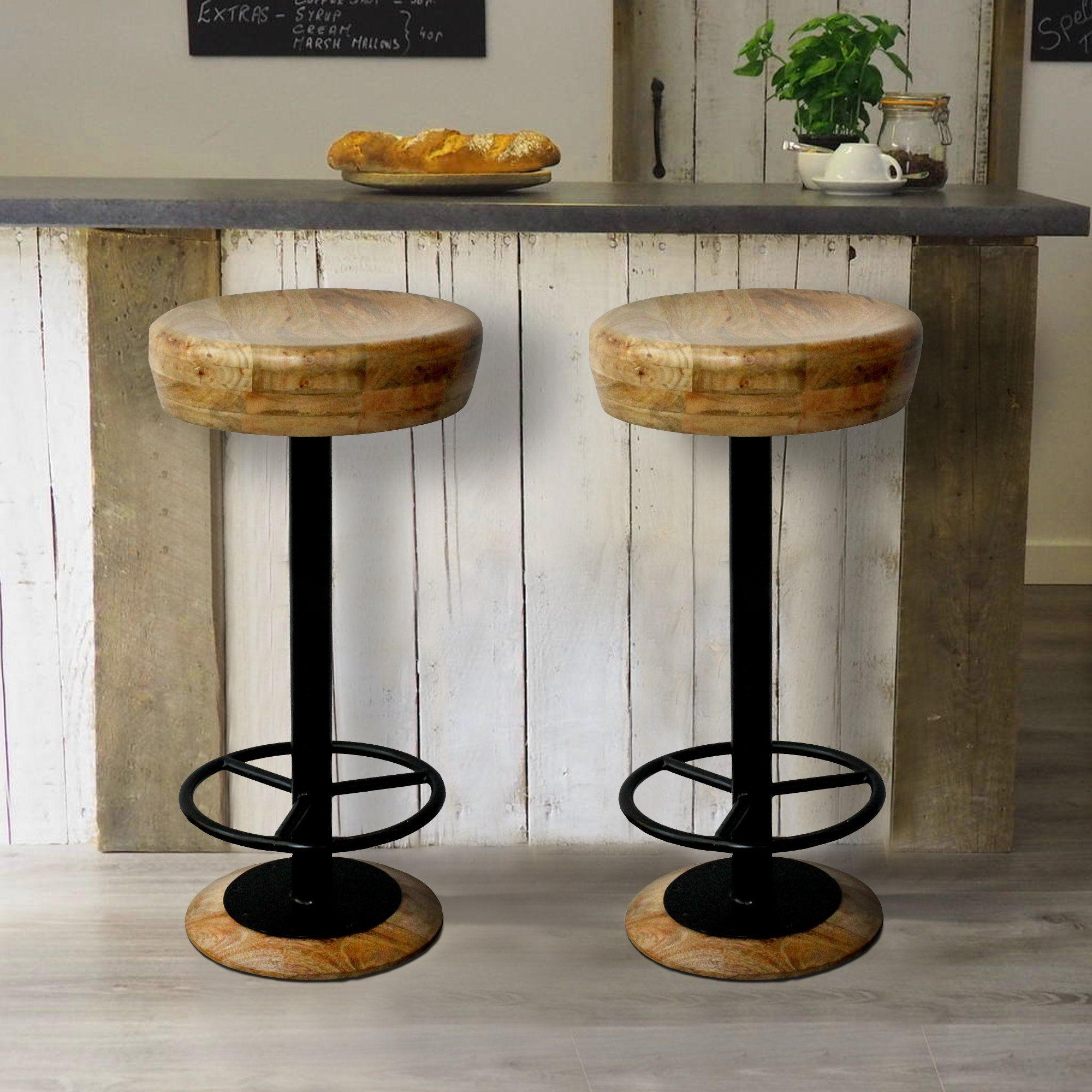 Industrial Style Adjustable Swivel Bar Stool With Hoopo Footrest Swivel Bar Stools Bar Stools How To Antique Wood