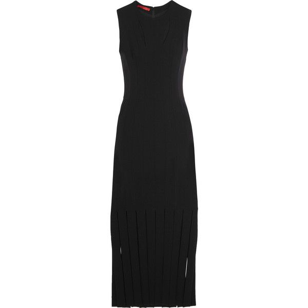 Tamara Mellon Fringed stretch-crepe dress (89,790 INR) ❤ liked on Polyvore featuring dresses, black, holiday cocktail dresses, black midi dress, black party dresses, midi cocktail dress and evening dresses