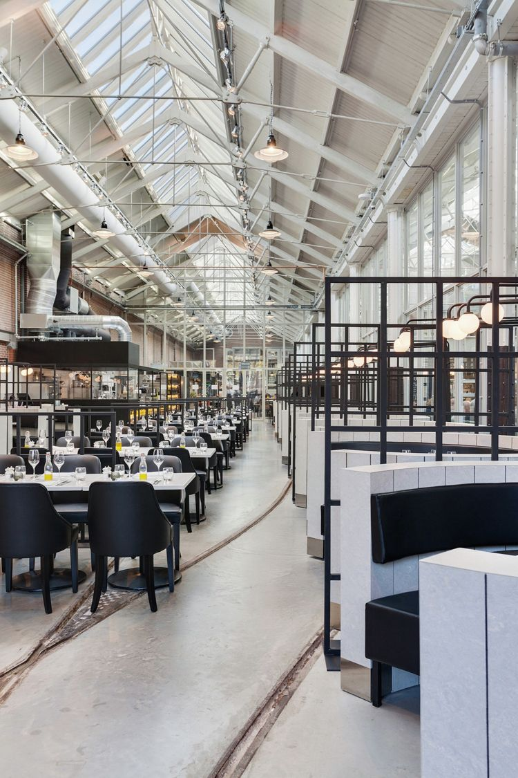 chic like a parisian bistro studded with shiny tiles and nestled in a skeleton of industrial restaurant interiorscafe