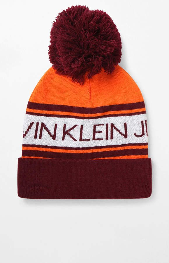 d5536dfbfe4 Calvin Klein Logo Pom Beanie