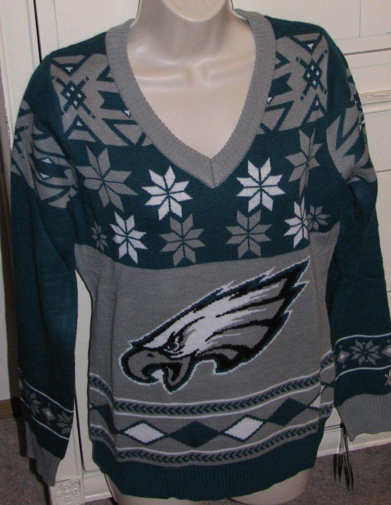 Philadelphia Eagles Womens Medium Nfl Winter Sweater Acrylic Team