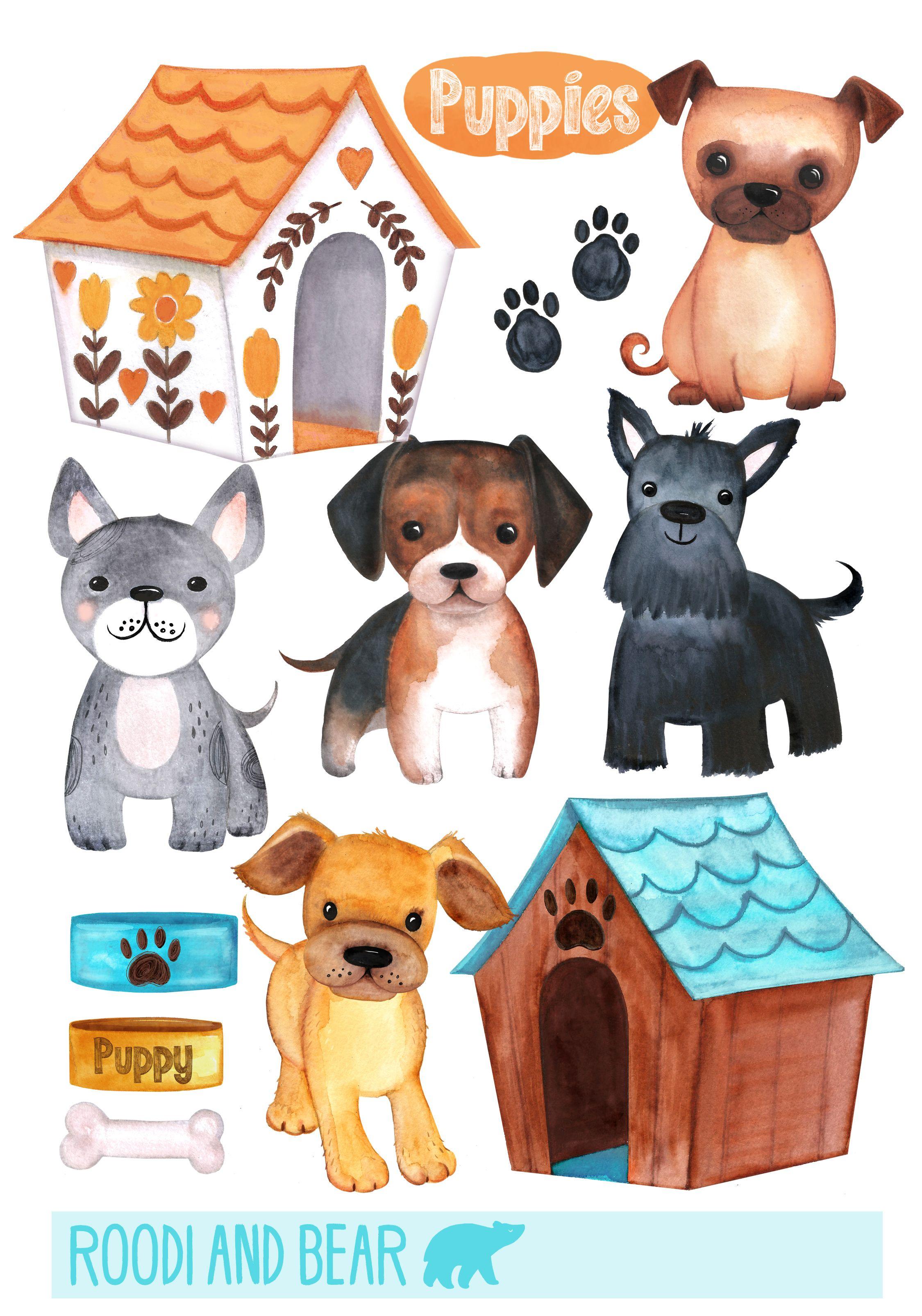 Watercolour Puppies Clip Art Digital Clip Art Cute Animal Clipart