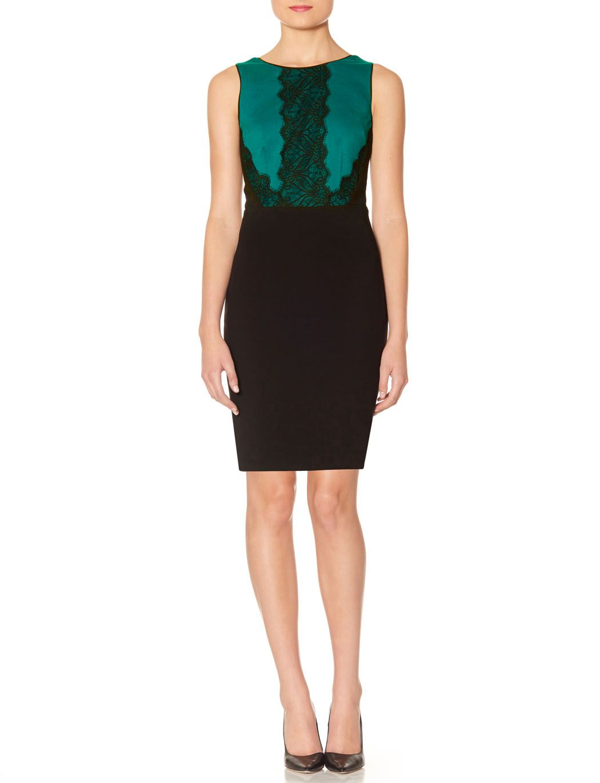 Green dress with lace overlay  Lace Trim Sheath Dress  Lace u Ponte Sheath Dress  THE LIMITED
