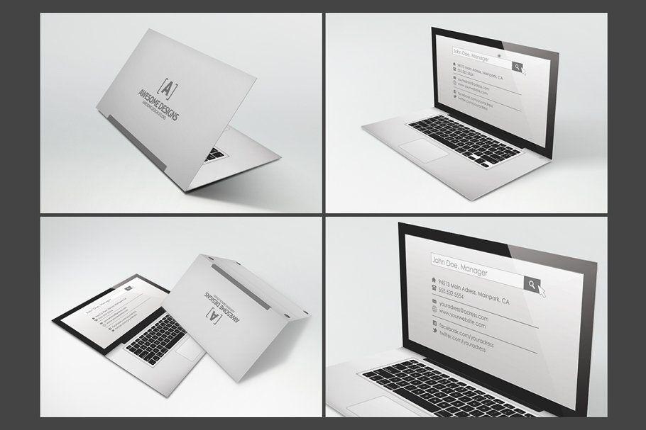 Laptop Folded Business Card Template BusinessFoldedLaptopTemplates