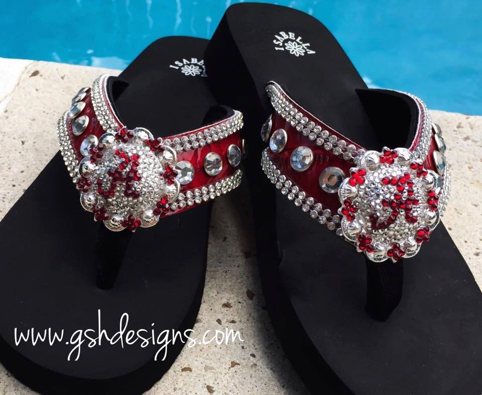 aa2e6089ecd052 Alabama Crimson Tide Inspired Flip Flops ...Roll Tide...Bama Girl by  GSHDesigns on Etsy
