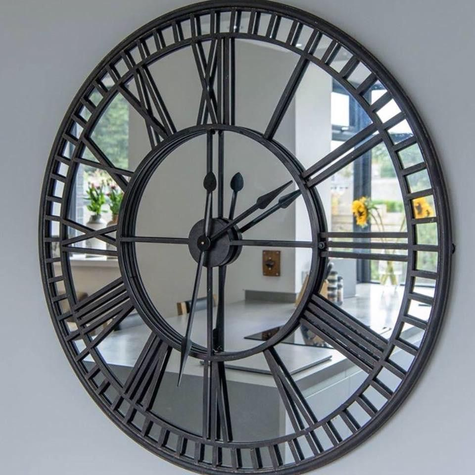 Iron Mirrored Wall Clock Proving Popular With Staff And Customers This Industrial Feel Clock Mirror Large Mirrored Wall Clock Mirror Wall Clock Big Wall Clocks