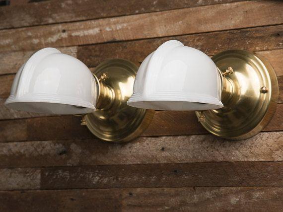 Vintage Pair Milk Glass Shades Unlacquered Brass Sconces Wall Lights Bathroom Vanity Living Room Fixtures Farmhouse Art De Glass Shades Brass Sconce Milk Glass