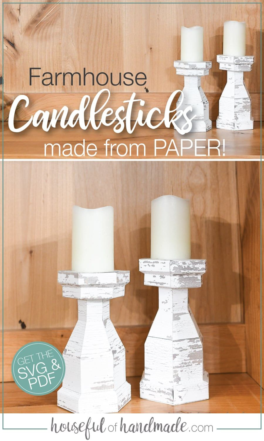 7 Days of Paper Spring Decor Faux Wood Candlesticks in