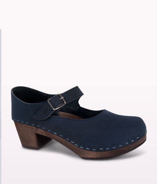 Blue Mary Jane high heel fashion clog for women 1