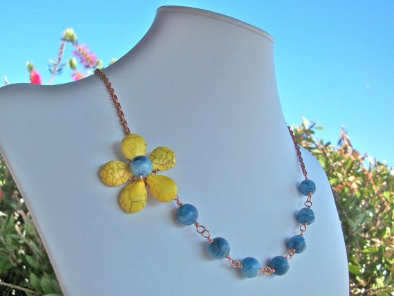 Sunshine yellow flower necklace asymmetrical yellow by StarJewels, $78.00