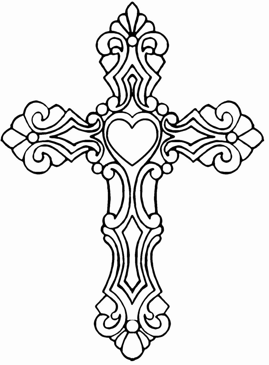 Cross with Flowers Coloring Pages Awesome Cross with Heart by