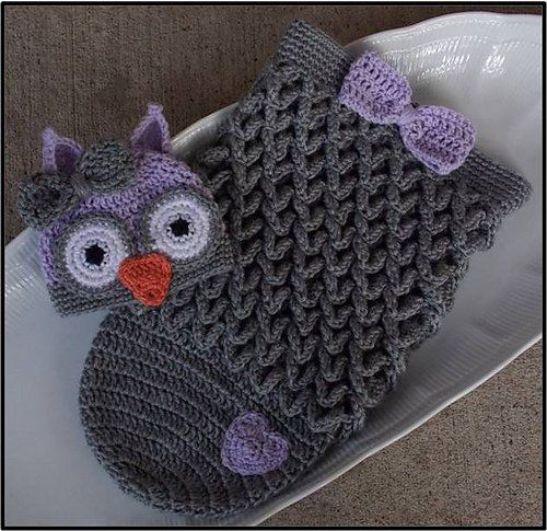 Crochet Cute Baby Owl Cocoon with Pattern | Owl hat, Baby owl and ...