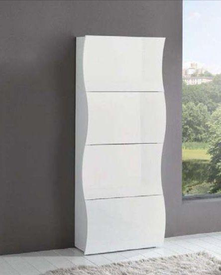 Meuble A Chaussures Onda Blanc Brillant 4 Portes Meuble Chaussure Mobilier De Salon Meuble Rangement
