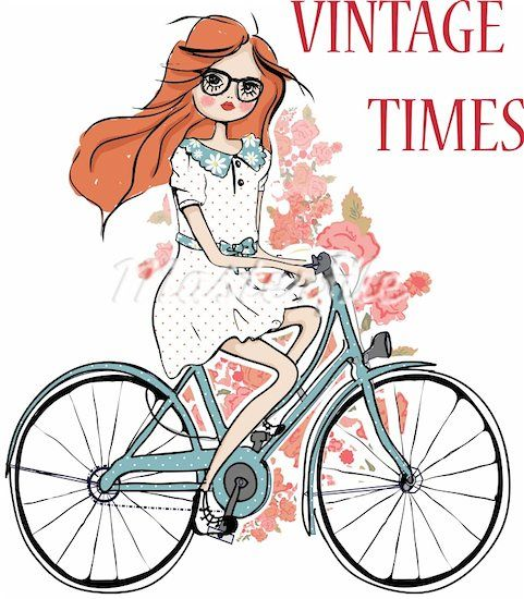 Fashion Girl With Flower And Bicycle Illustration Sketch Drawing