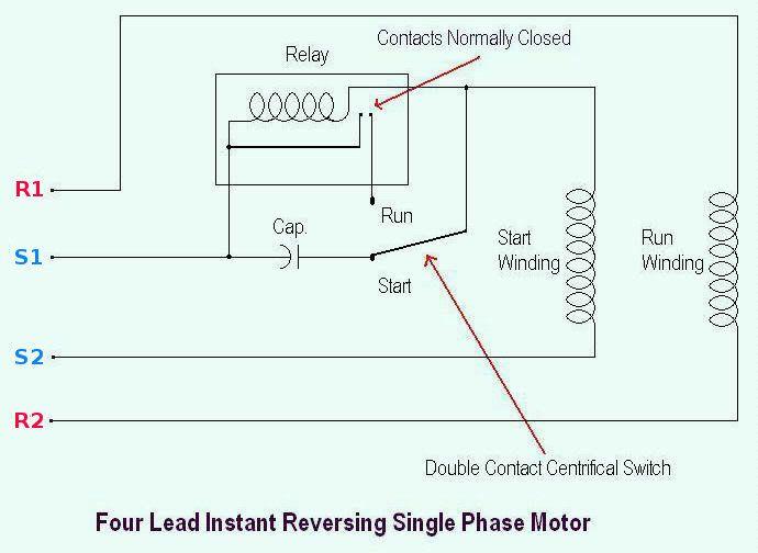 Four Lead Instant Reversing Single Phase Motor Diagram Motor Wire
