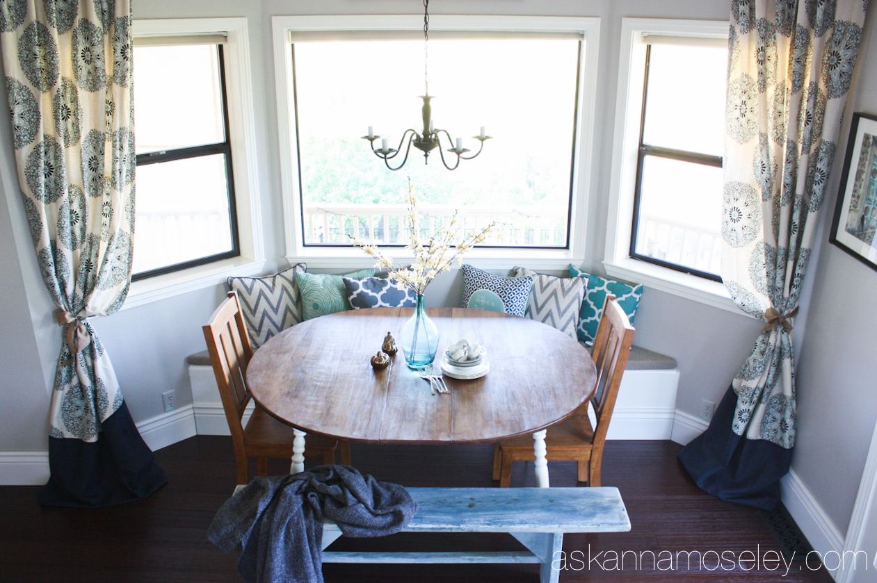 Kitchen nook window treatments  breakfast nook makeover with bhg  ask anna  for the home