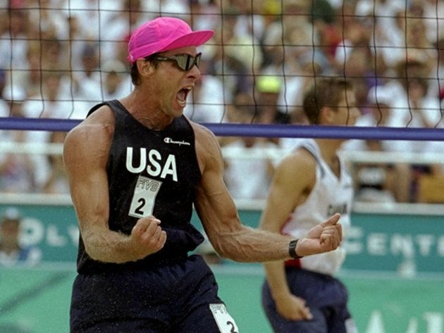 Karch Kiraly of the USA celebrates a point during the Kiraly/Steffes of the USA v the Canadian team of Heese/Child at Atlanta Beach at the 1996 Centennial Olympic Games in Atlanta, Goergia. \ Mandatory Credit: Doug Pensinger /Allsport