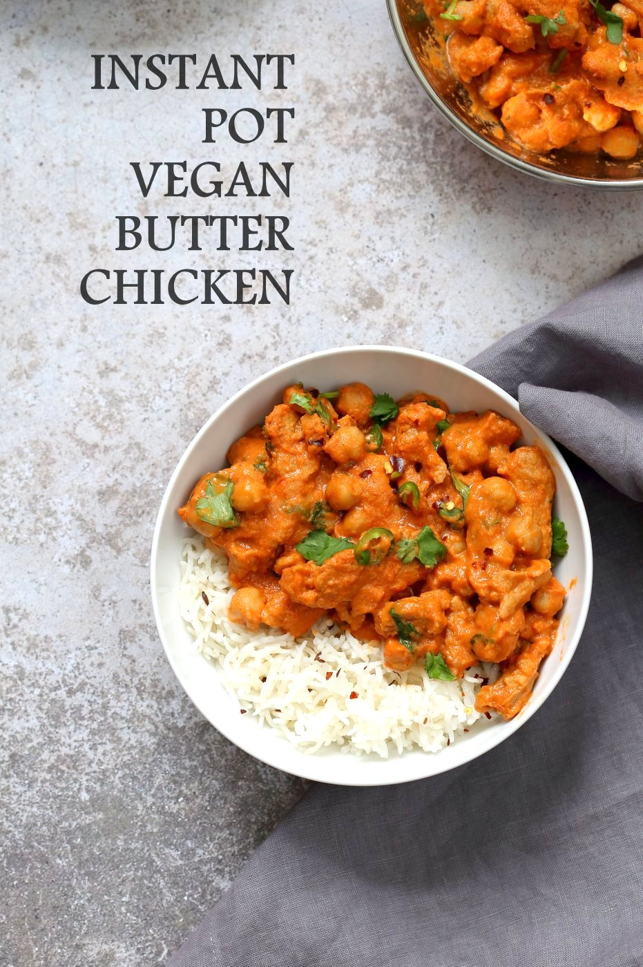 Instant Pot Vegan Butter Chicken With Soy Curls And Chickpeas Oil Free Recipe Vegetarian Instant Pot Vegan Instant Pot Recipes Butter Chicken