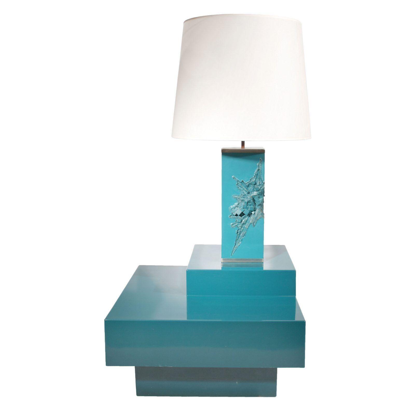Maison Charles Teal Lacquered Corner Table And Lamp France Circa 1960s Todd Merrill Lamp Corner Table