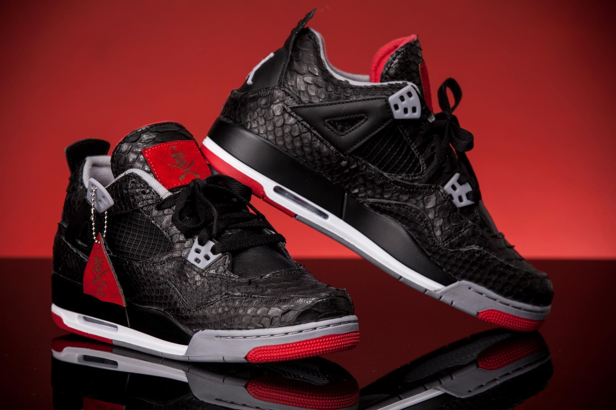 9ed4514a2d823f Jordan IV Bred Python leather - custom by the shoe surgeon