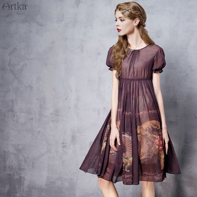 Artka Women's Spring New Byzantium Style Printed Chiffon Dress O-neck Short Sleeve Empire Waist Wide Hem Dress LA11565X