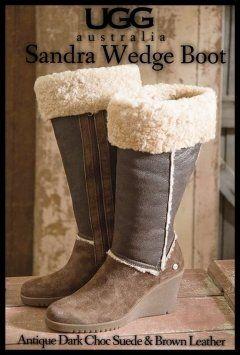 UGG Boots Ugg Australia Sandra Wedge Antique Dark Suede Brown/Tan Boots $320