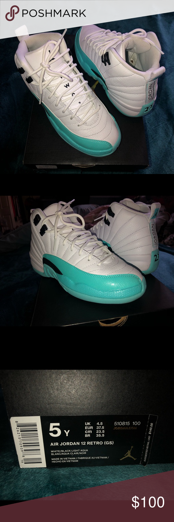 7293fa7f28a8 Air Jordan 12 Retro Light-Aqua and white Air Jordan 12 BRAND NEW! Size 5y  Jordan Shoes Sneakers