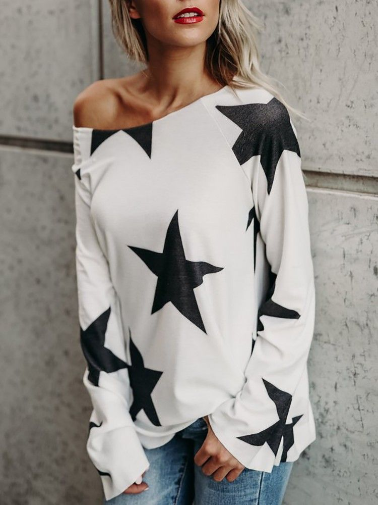 7d12ad82b2b8c Star Pattern Boat Neck Bat-Wing Sleeve T-Shirt in 2019