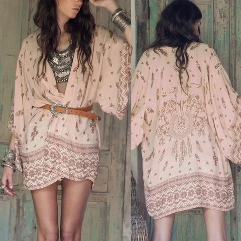 Boho Printed Chiffon Loose Kimono Cardigan Fashion Women Blouse ...
