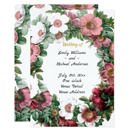 Vintage Flowers Wedding Program Template Elegant Invitations - Floral wedding program templates