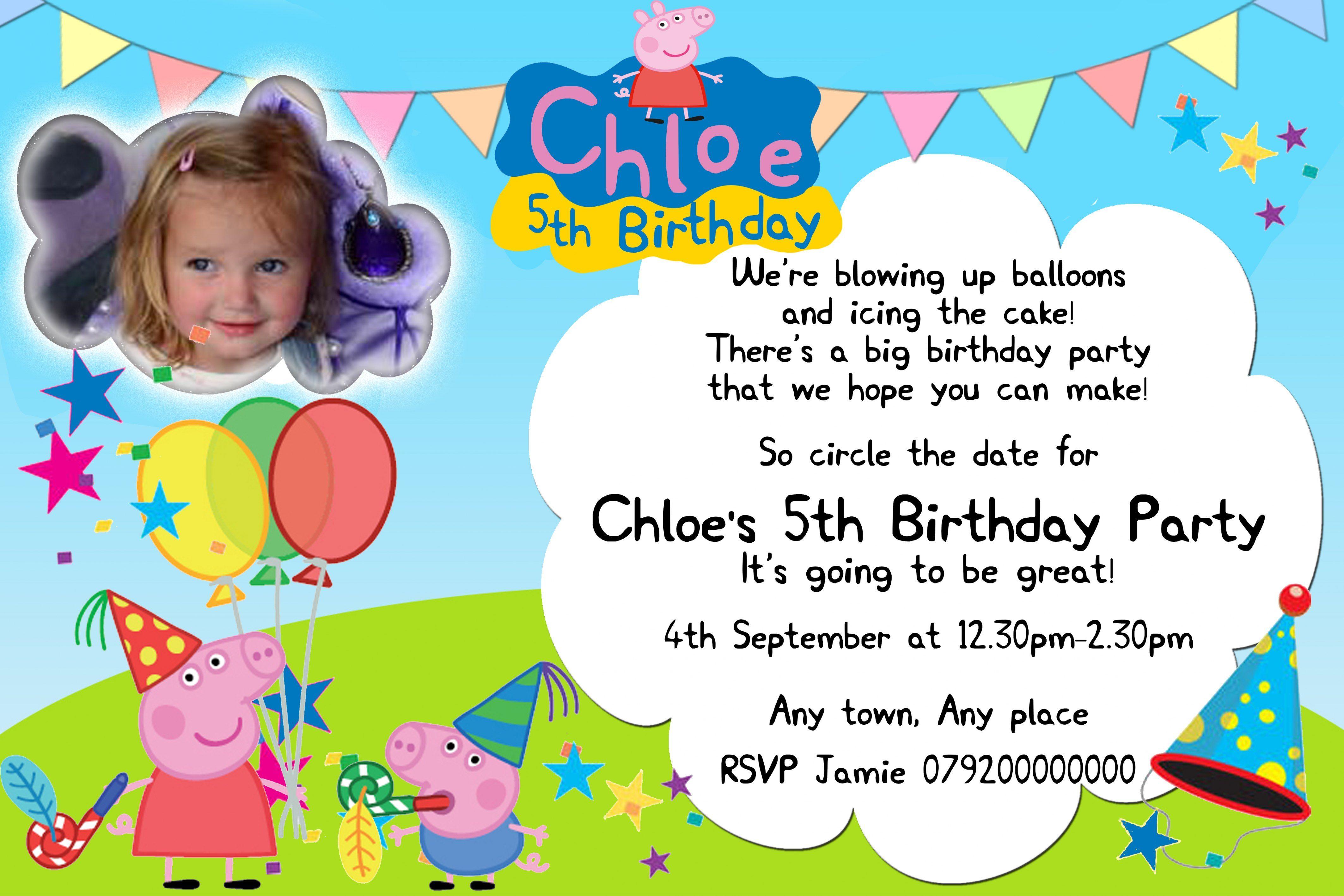 peppa pig birthday invitation wording