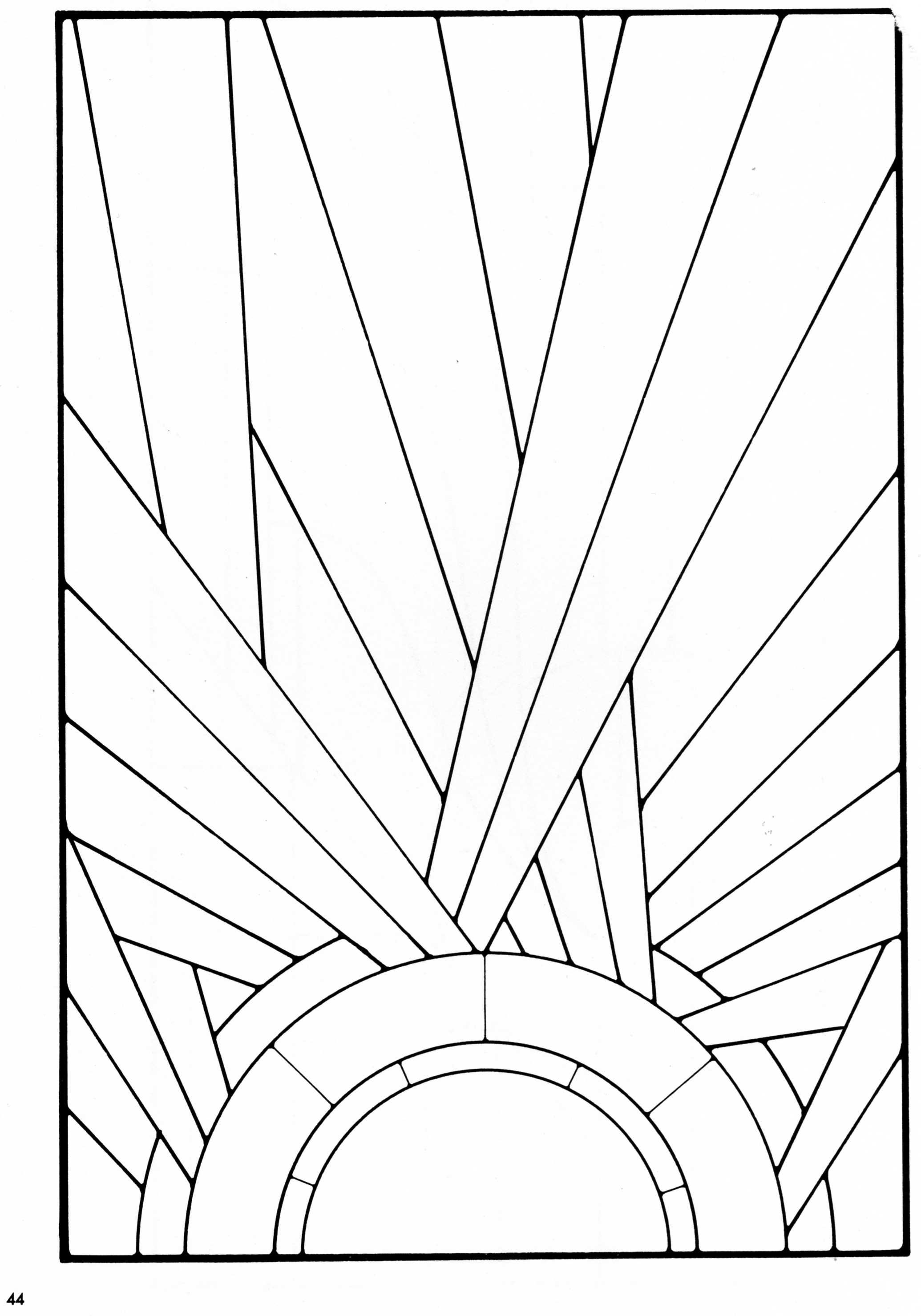 Stained Glass Pattern From A Book Of Art Deco Stained
