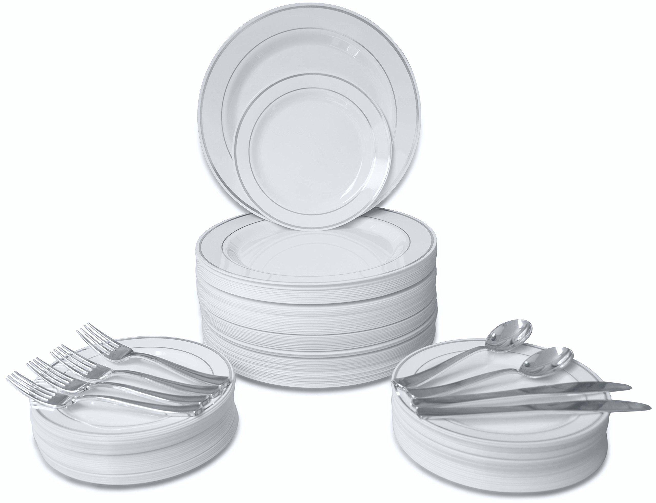 OCCASIONS \  720 PCS / 120 GUEST Wedding Disposable Plastic Plate and Silverware Combo Set  sc 1 st  Pinterest & OCCASIONS \