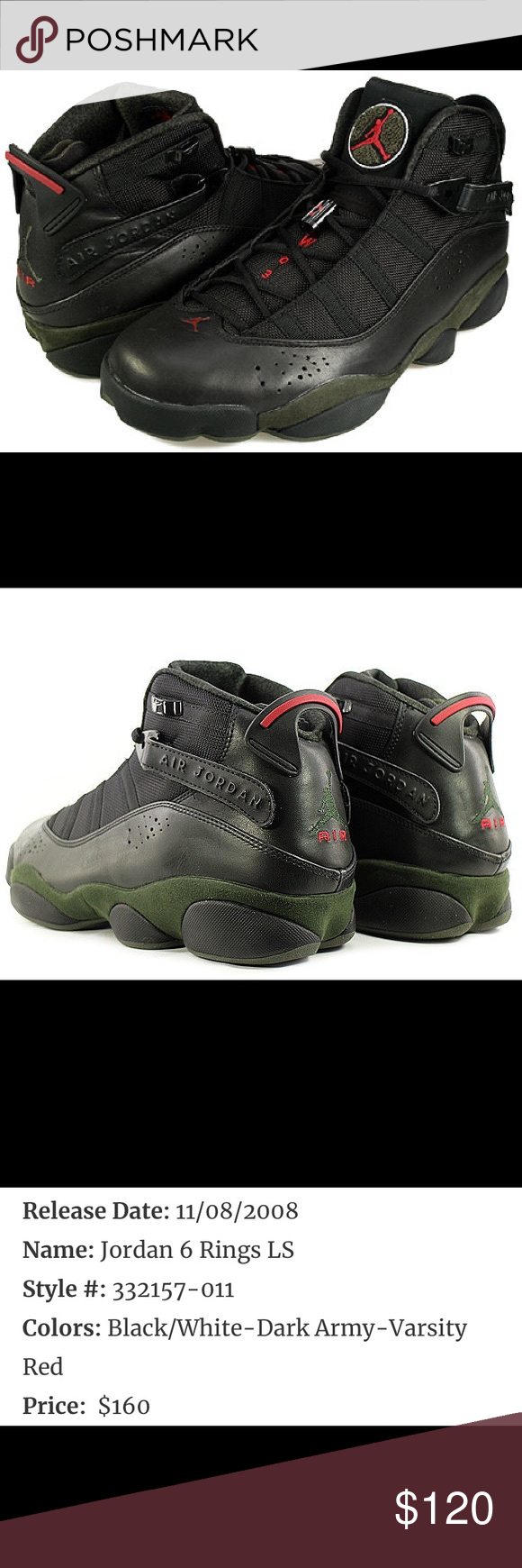 1f7cf11a5d2 Jordan 6 Rings Air Jordan Six Rings Black/Army Green. Condition 10/10 Wore  once Original Dead Stock Size 10 Jordan Shoes Sneakers
