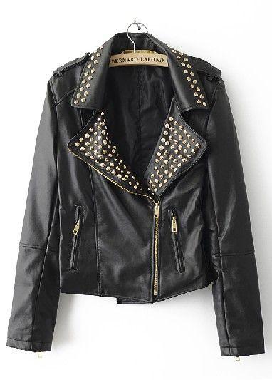 Black Rivet Embellished Lapel PU Leather Jacket