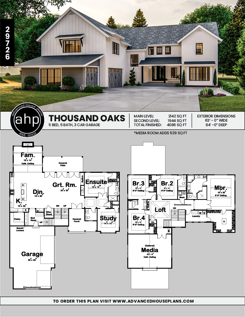 2 Story Modern Farmhouse Plan Thousand Oaks Modern Farmhouse Plans House Plans Farmhouse Family House Plans