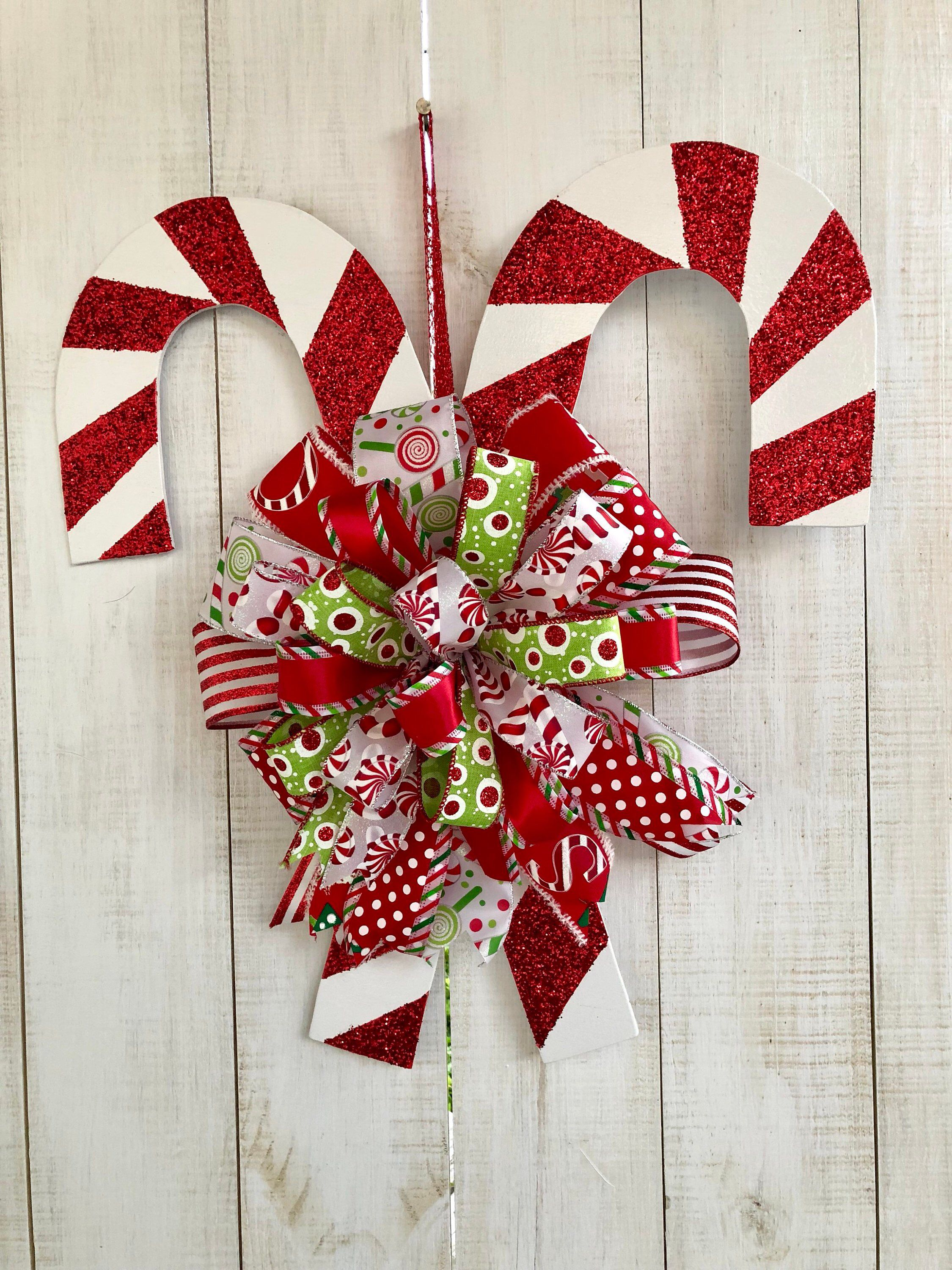 Excited To Share This Item From My Etsy Shop Christmas Double Candycane Wreath Door Ha Christmas Door Decorations Diy Christmas Garland Christmas Decorations